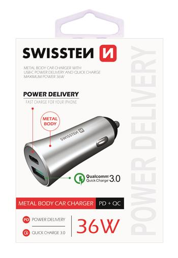 Autonabíječka SWISSTEN Power Delivery USB-C + Quick Charge 3.0 36W metal stříbrná