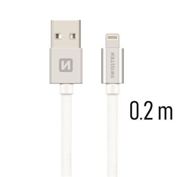 Datový kabel SWISSTEN Textile Apple iPhone 5 / 6 / 7 / 8 / X Lightning 0,2m stříbrný