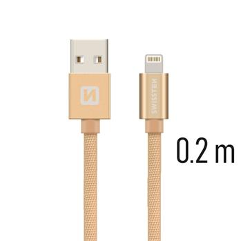 Datový kabel SWISSTEN Textile Apple iPhone 5 / 6 / 7 / 8 / X Lightning 0,2m zlatý