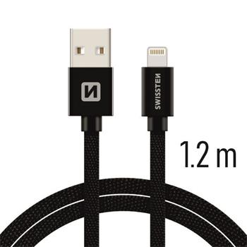 Datový kabel SWISSTEN Textile Apple iPhone 5 / 6 / 7 / 8 / X Lightning 1,2m černý
