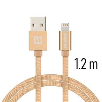 Datový kabel SWISSTEN Textile Apple iPhone 5 / 6 / 7 / 8 / X Lightning 1,2m zlatý