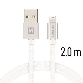 Datový kabel SWISSTEN Textile Apple iPhone 5 / 6 / 7 / 8 / X Lightning 2,0m stříbrný