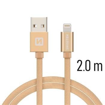 Datový kabel SWISSTEN Textile Apple iPhone 5 / 6 / 7 / 8 / X Lightning 2,0m zlatý
