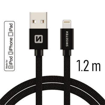 Datový kabel SWISSTEN Textile Apple iPhone 5 / 6 / 7 / 8 / X Lightning MFi 1,2m černý