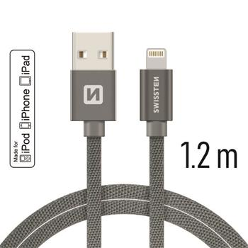 Datový kabel SWISSTEN Textile Apple iPhone 5 / 6 / 7 / 8 / X Lightning MFi 1,2m šedý