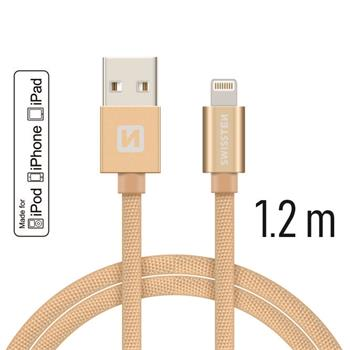 Datový kabel SWISSTEN Textile Apple iPhone 5 / 6 / 7 / 8 / X Lightning MFi 1,2m zlatý