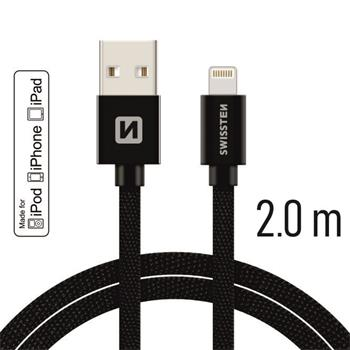 Datový kabel SWISSTEN Textile Apple iPhone 5 / 6 / 7 / 8 / X Lightning MFi 2,0m černý