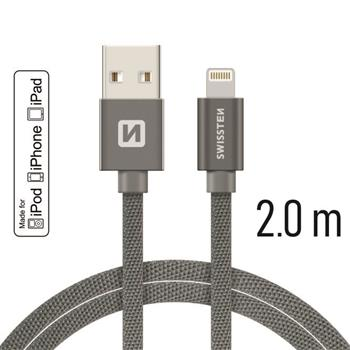 Datový kabel SWISSTEN Textile Apple iPhone 5 / 6 / 7 / 8 / X Lightning MFi 2,0m šedý