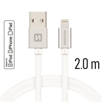 Datový kabel SWISSTEN Textile Apple iPhone 5 / 6 / 7 / 8 / X Lightning MFi 2,0m stříbrný
