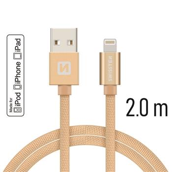 Datový kabel SWISSTEN Textile Apple iPhone 5 / 6 / 7 / 8 / X Lightning MFi 2,0m zlatý