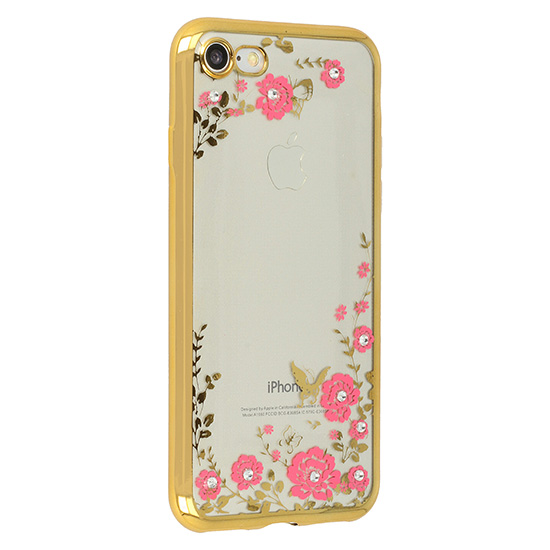 Pouzdro Back Case Flower Apple iPhone X / XS zlaté