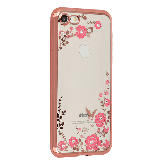Pouzdro Back Case Flower Apple iPhone X zlato růžové