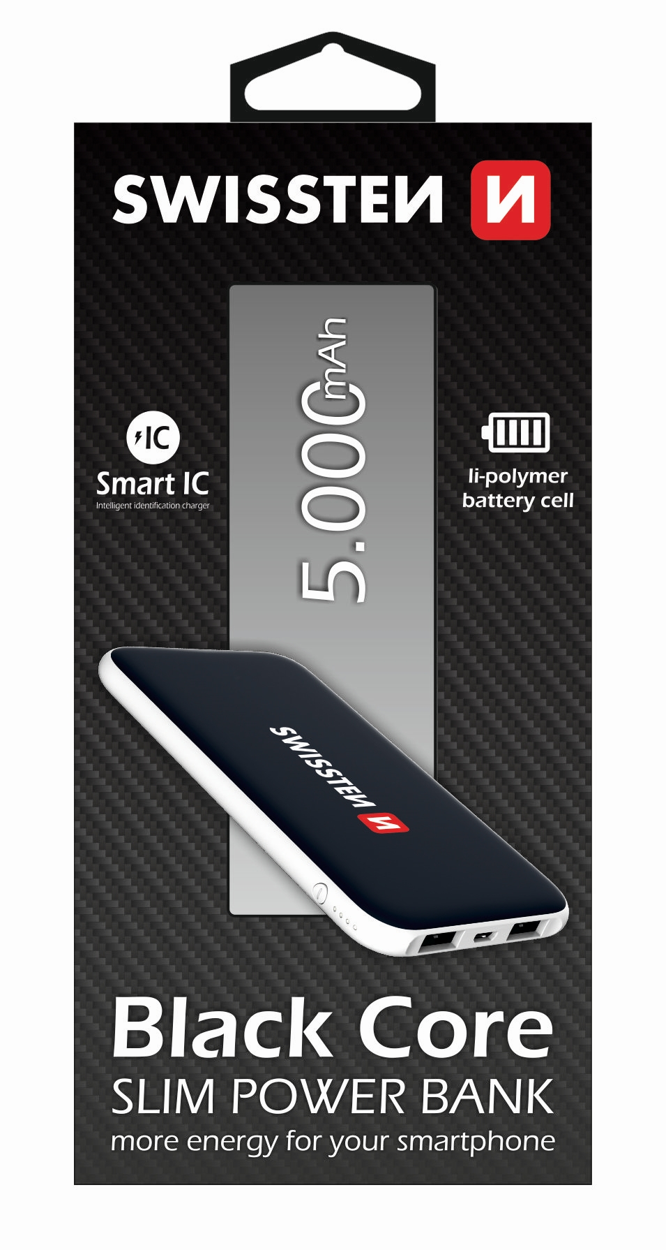 Power Bank SWISSTEN Black Core Slim 5000 mAh