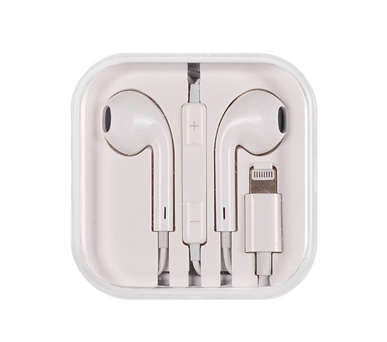 Sluchátka Mega Bass earphones Apple iPhone 7 / 7 Plus / 8 / X Lightning bílé